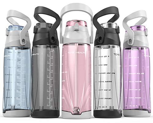 Motivational Water Bottle with Time Marker Half Gallon 64 oz Water Bottle and Handle BPA Free Water Jug