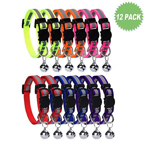 HOMIMP Halsband-Set für Katzen, reflektierend, mit Glöckchen, Schnallenverschluss, verstellbar 20–30cm, 12er-Pack