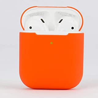 Protective Airpods Case [Front LED Visible][Supports Wireless Charging][Made of 2 Pcs] Shock Proof Soft Skin for Airpods Charging Case 1&2 (Orange)