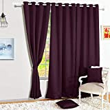 Story@Home Blackout Eyelet 2 Piece Faux Silk Ring top Door Curtain-7 feet, Purple