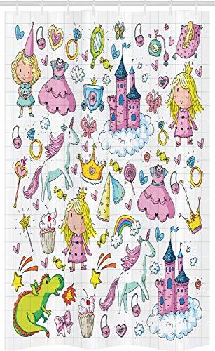 ABAKUHAUS Prinzessin Schmaler Duschvorhang, Mädchen Märchen Thema, Badezimmer Deko Set aus Stoff mit Haken, 120 x 180 cm, Mehrfarbig