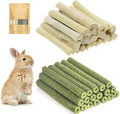Molar Chew Sticks Small Animals 2 Types of Combined Chew Toys Natural Snacks Timothy Hay Sticks Sweet Bamboo Molar for Rabbits, Guinea Pigs,Bunny, Chinchilla, Hamsters,Bird Pet Chew Treats 300g