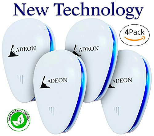 ADEON Ultrasonic Pest Repeller - Pest Control - Electronic Pest Repeller Plug in - Bug Repellent - Repel Insect Rat Roach Mice Ant Spider Mosquito [4 Pack]