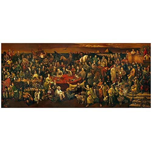 FACAIA Pintura famosa comédia divina pintura a óleo pôsteres impressão de arte de parede para decoração de sala de estar - 70 x 140 cm sem moldura
