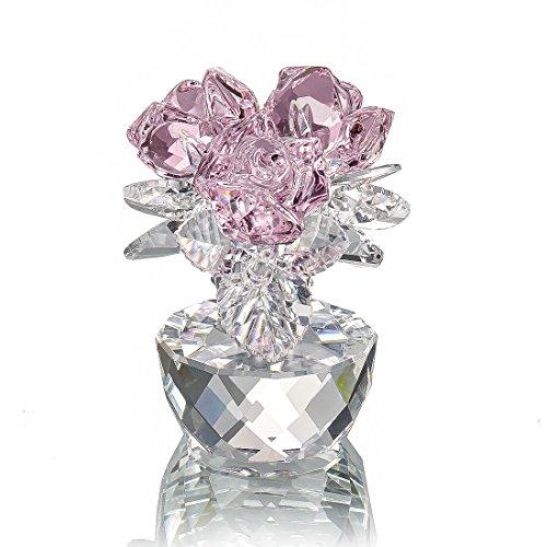 H&D - Figura decorativa con diseño de ramo de rosas de cristal rosa, con caja de regalo