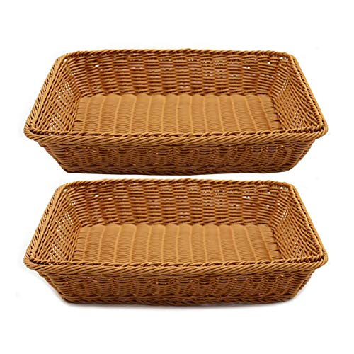 Set of 2 Poly-Wicker Bread Basket Rectangle 15.7in Long Woven Tabletop Rattan Food Fruits Vegetables Serving Tray for Home Kitchen Restaurant