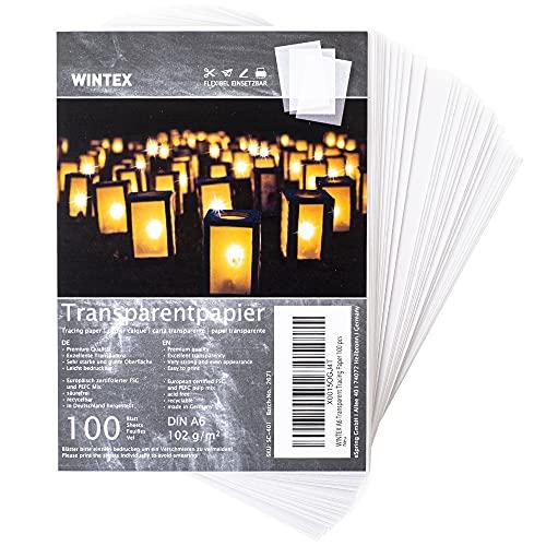 WINTEX 100 Blatt Transparent Papier DIN A6 - weißes Bastelpapier, bedruckbar