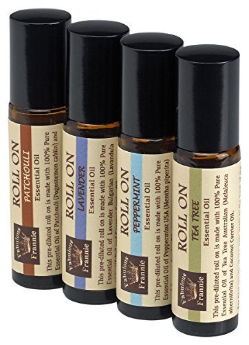 Pre-Diluted Essential Oil Roll-On Value Set Made with Pure Essential Oils and Coconut Oil (Lavender, Patchouli, Peppermint and Tea Tree) by Fabulous Frannie