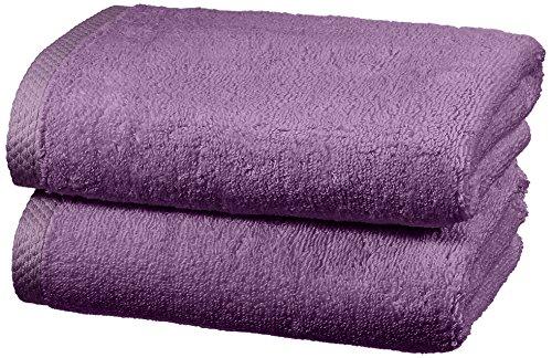 Amazon Basics - Handtuch-Set, schnelltrocknend, 2 Handtücher - Lavendelviolett, 100 Prozent Baumwolle