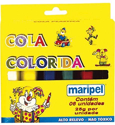 Cola Colorida Estojo com 6 Cores, Maripel 4006, Multicor