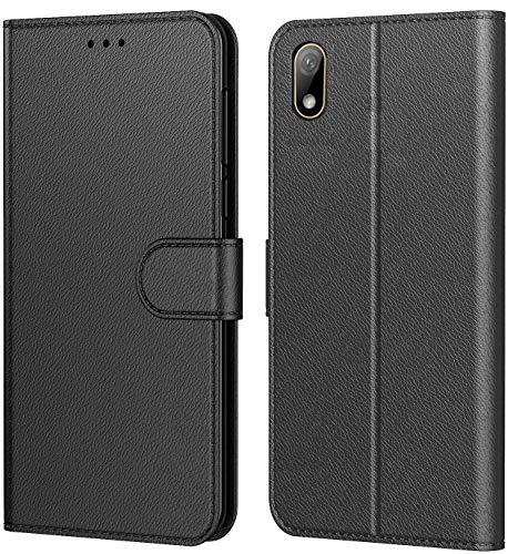 Tenphone Etui Coque pour Huawei Y5 2019, Protection Housse en Cuir Portefeuille Livre,[Emplacements Cartes],[Fonction Support],[Languette Magnétique] pour (Y5 2019 (5,7 Pouces), Noir)