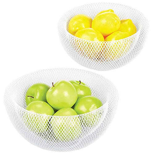 mDesign Double Wall Metal Mesh Decorative Fruit Bowl Basket Stand - Modern Wire Design for Kitchen Countertop Storage & Table Centerpieces - Container and Holder for Fruits/Vegetables, Set of 2, White