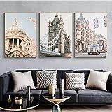 vbewuvbiewv Póster de Ciudades de Viaje nórdico Vintage, Rueda de Londres, Arte de Paisaje de Viaje, Lienzo de Reino Unido, Pintura, Cuadros de Pared sin Marco