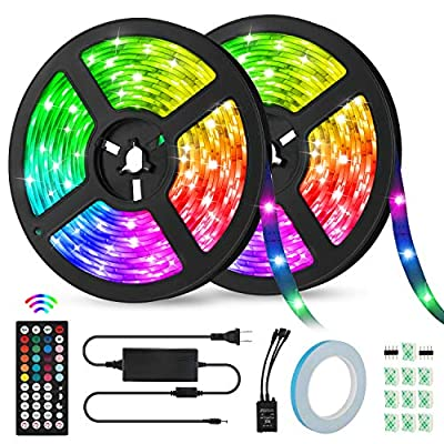 LED Strip Lights 32.8ft, KeShi IP65 Waterproof Music Sync Flexible Tape Lights, 300 LEDs 5050 Light Strip Kit, RGB Color Changing Rope Lights with 44-Key IR Remote Control, for Home Decoration