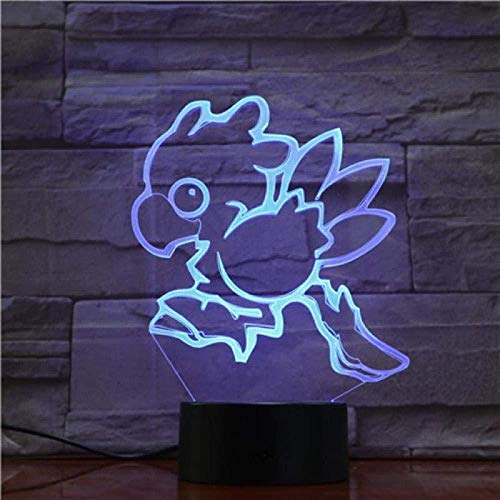 3D Night Light Final Fantasy 3D Lamp Pokemon Toy Figures Chocobo Fish Night Light Led Bulb Multicolor Kids Gift Kid Toy Lava Touch