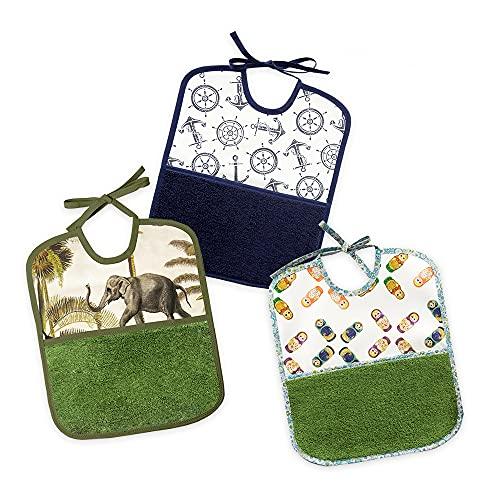 PLACEMATFAB Baberos grandes antimanchas, impermeables y lavables. Con bolsillo de toalla. Tela de algodón resinado. Para bebé niño o niña de 9 meses a 4 años. Hechos a mano. 3 unidades de 27x32 cm.