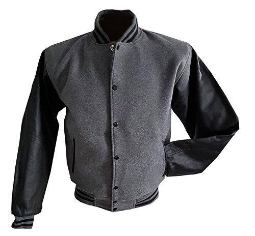 Windhound Original College Jacke grau mit schwarzen Echtleder Ärmel XXL