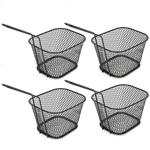 Frituren Netto Frieten Mand Vierkante Vorm Rvs 4 Stuks Koken Tool Stomen Blancheren Frituren voor Koken(black)