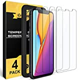 NEARPOW Screen Protector for iPhone 11 / iPhone XR, [4 Pack] Tempered Glass Screen Protector for Apple iPhone XR 6.1' 2018 / iPhone 11 2019, [Fit with Most Cases][Easy Installation Frame][9H Hardness]