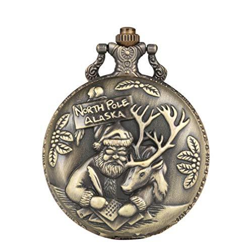 Hemobllo Santa Claus Pocket Watch - Vintage Quartz Pocket Watch Bronze Antique Design Pocket Watch Men Women Best Gift