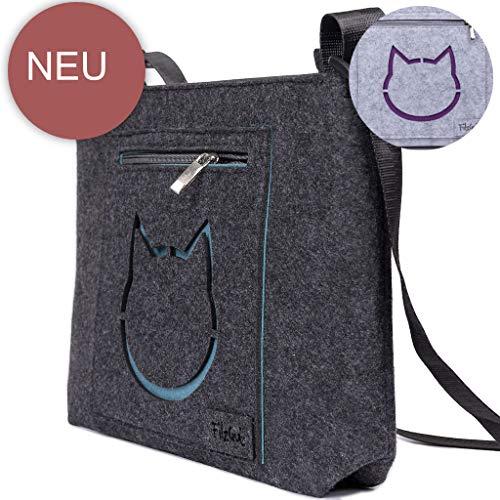 Umhängetasche Damen Dirndl Schultertasche Filztasche Damen Trachtenmotiv Trachtentasche mehrere Tiermotive Katze