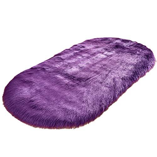 jiashemeng Creative Home Faux Wollplüsch Teppich Warme Fußpolster Sofa Wohnzimmer Ovale Matte Lila