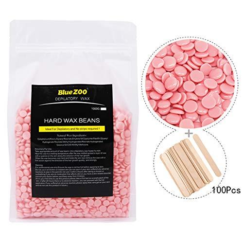 Joyeee Perles de Cire à épiler Pelable professionnelles 1000g, L'épilation originale Hard Wax Beans, Aucune bande requise, Idéal pour l'élimination des poils sur le corps (Rose, 100 spatules)