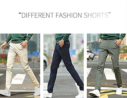Xy Litol Men's Slim-Fit Tapered Stretchy Casual Pant Knaki 36