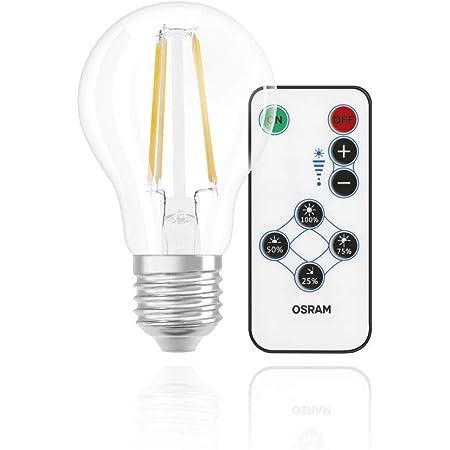OSRAM Lot de 4 x Ampoule LED   Culot: E27   Blanc chaud   2700 K   7 W   équivalent à 60 W   clair   LED Retrofit Step DIM with remote control