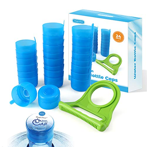WINBOB 5PCS 55mm 3 and 5 Gallon Non-Spill Caps,Replacement Water Bottle Snap On Cap Anti Splash Peel 5 Piece