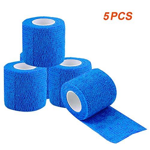 VGEBY1 Tape Bandage Verband, 5 Stücke Vliesstoff Wasserdichtes Selbstklebende Verband Selbsthaftende Vliesstoff Kohäsive Wickel Elastische Bandage für Sport Outdoor, 5cm x 4,5m(Blau)
