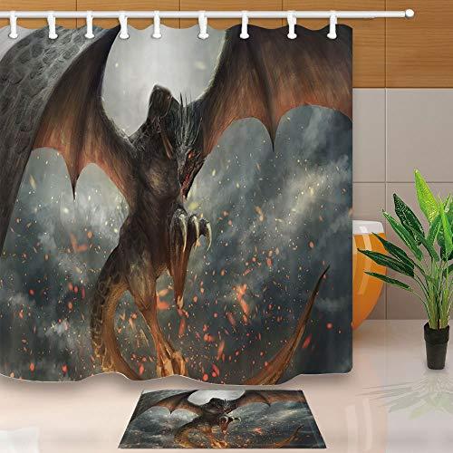GoHEBE Drachen Duschvorhang Motiv Monster Fly 180x 160cm mit Duschvorhang & Anti-Schimmel-Teppich