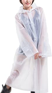 Hwcpadkj Raincoat, 2 Pack Rain Poncho Universal Reusable Waterproof Jacket Coat Rainwear With Drawstring Hood and Sleeves ...