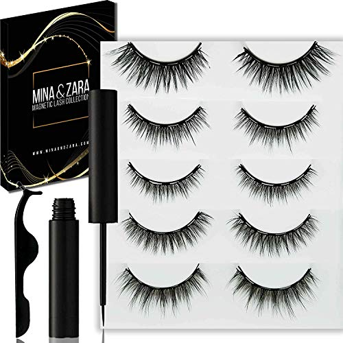 MINA & ZARA - Magnetisches Wimpern- und Eyeliner-Set, 5 Paar magnetische falsche Wimpern und wasserfester Eyeliner, Wiederverwendbares, Wasserdicht