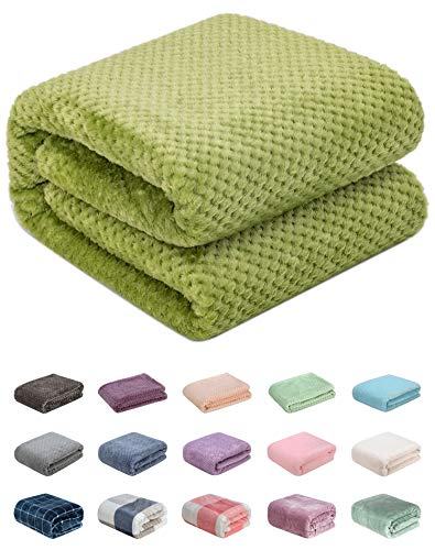 """Fuzzy Throw Blanket, Plush Fleece Blankets for Adults, Toddler, Boys and Girls, Warm Soft Blankets and Throws for Bed, Couch, Sofa, Travel and Outdoor, Camping (Throw(50""""x70""""), L-Avocado)"""