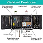 Rustic Wall Mounted Jewelry Organizer with Wooden Barndoor Decor. Jewelry holder for Necklaces, Earings, Bracelets, Ring Holder, and Accessories. Includes hook organizer for hanging jewelry (Black) 7