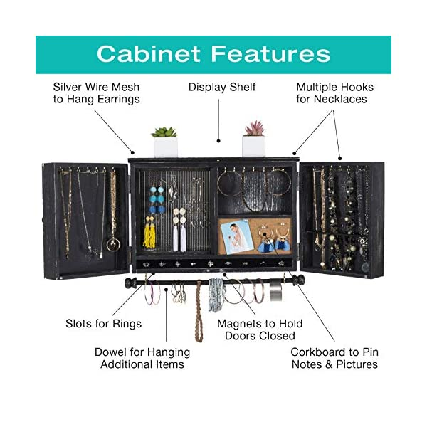 Rustic Wall Mounted Jewelry Organizer with Wooden Barndoor Decor. Jewelry holder for Necklaces, Earings, Bracelets, Ring Holder, and Accessories. Includes hook organizer for hanging jewelry (Black) 4