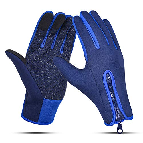 Gants imperméables Unisexes à écran Tactile pour Cyclisme Gants à Doigts complets pour vélo Coupe-Vent VTT Gants de Sport Hommes Femmes S-XL - Bleu foncé, S