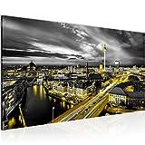 Wandbilder Berlin Skyline Modern Vlies Leinwand Wohnzimmer Flur Stadt Schwarz Gelb 004312a