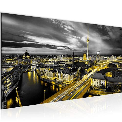 Wandbilder Berlin Skyline 1 Teilig Modern Vlies Leinwand Wohnzimmer Flur Stadt Schwarz Gelb 004312a