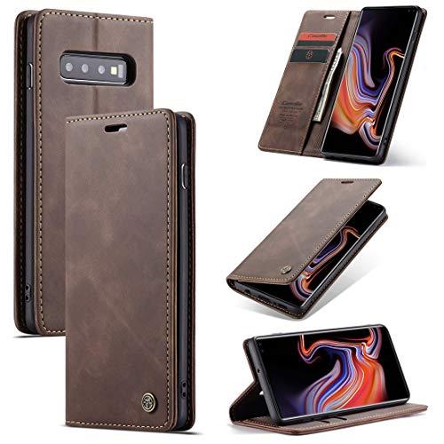 SZCINSEN Funda tipo cartera para Samsung Galaxy S10 Plus de piel sintética de alta calidad, 2 en 1 con tapa magnética, piel suave mate + carcasa inferior de TPU con ranura para tarjeta (color marrón