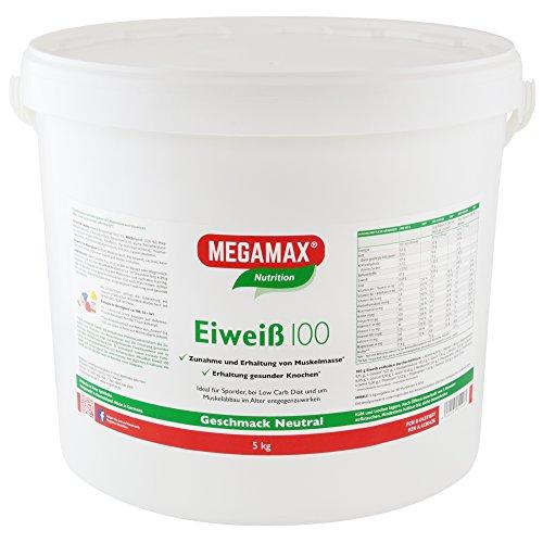 Megamax Eiweiss Neutral 5 kg | Molkenprotein + Milcheiweiß Für Muskelaufbau ,Diaet | 2k-Eiweiss ideal zum Backen | hochwertiges Low Carb Eiweiß-Shake | aspartamfrei Protein-pulver mit Aminosäuren