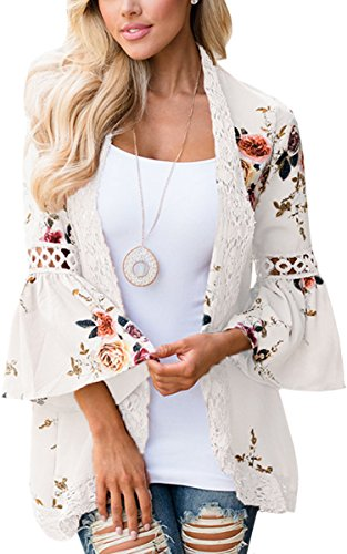 ECOWISH Womens Kimono Cardigan Floral Print Sheer Capes Loose Cardigans Cover Up Blouse Tops White Medium