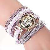 Fenverk Damen Armbanduhr, Retro Vintage Analog Quarz Uhr mit Schmetterling Beads Kugeln Charm Leder Armkette Armband,Spangenuhren Damen,Charm Armband,Analoge Uhren(Purple#01)