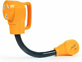 Camco Heavy Duty RV Dogbone Electrical Adapter with Innovative 180 Degree Bend Design and Easy PowerGrip Handle - 15 Amp Male to 30 Amp Female, 12