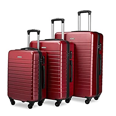 Luggage Sets Spinner Hard Shell Suitcase Lightweight Luggage-3 Piece(20  24  28 )-Galaxy (Red2)