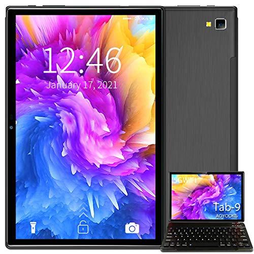 Tablet 10 Pulgadas Baratas y Buenas 5G WiFi Android 10.0 Tableta con Procesador Quad-Core, 800 * 1280 FHD Display, 64 GB Ampliables hasta 128 GB, Teclado/Ratón/OTG/Bluetooth - Negro
