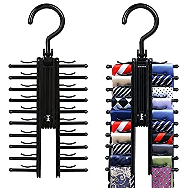 IPOW 2 PCS Upgraded Cross X Hangers Grabbing Ties More Easily,Black Tie Belt Rack Organizer Hanger Non-Slip Clips Holder With 360 Degree Rotation,Securely up to 20 Ties