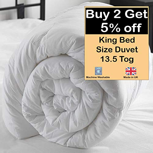 Duvet King Bed Size 13.5 Tog Quilt 230x220cm White Summer Autumn Season Basic Anti Allergy Non Hollowfibre Polypropylene Cover Made in Uk