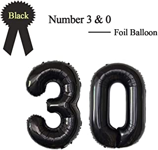 40 Inch Black 30 Number Foil Balloon 30th Birthday Party Supplies Anniversary Events Graduation Decorations